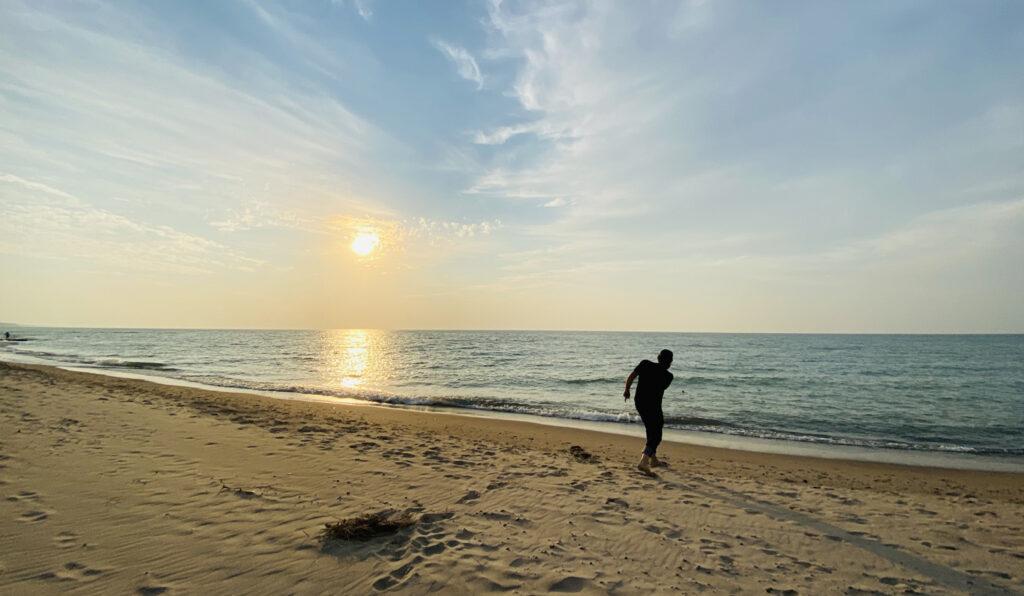 Skipping rocks at Lake Michigan